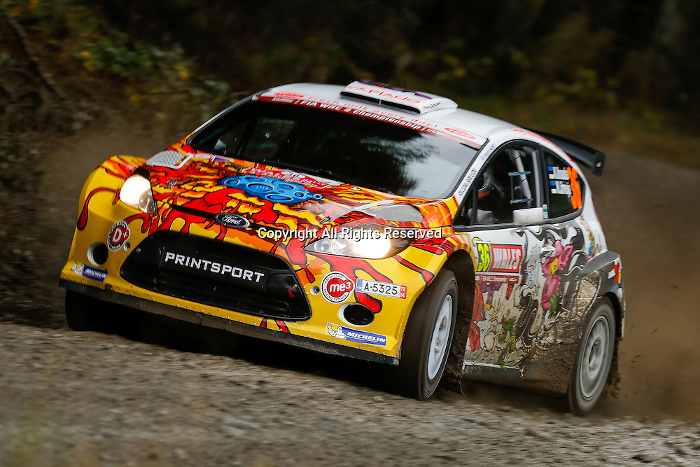 13.11.2014. Clocaenog, Wales. FIA World Rally Championship, Wales Rally GB. Karl Kruuda and Martin Jarveoja of Estonia compete in a Ford Fiesta S2000 during the Clocaenog Forest Shakedown Stage on Day One.