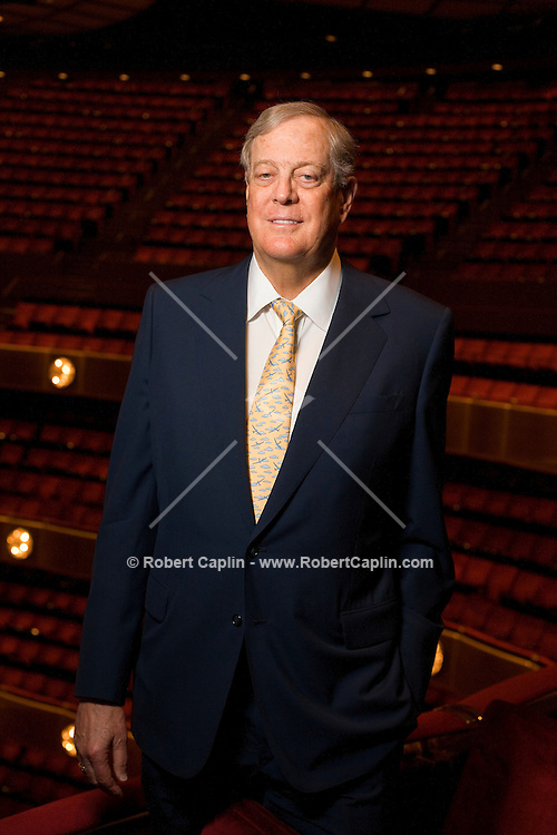David H Koch has his portrait taken in the NY State Theater at Lincoln Center. Koch is donating $100 million to have the theater made in his name.  July 9, 2008.