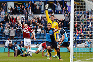 Dean Morgan of Wycombe Wanderers starts to celebrate what he thinks is the winning goal in the dying seconds of the game only to see it ruled out for off-side during the Sky Bet League 2 match at Adams Park, High Wycombe<br /> Picture by David Horn/Focus Images Ltd +44 7545 970036<br /> 18/04/2014