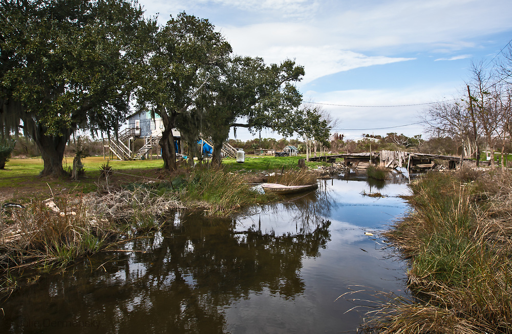 View from the bridge leading to Denecia Naquin Billiot's home on the Isle de Jean Charles in Louisiana.