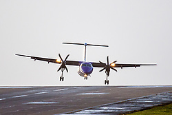 © Licensed to London News Pictures. 13/03/2019. Leeds UK. An Flybe aircraft struggles to land in very strong cross winds at Leeds Bradford airport in Yorkshire this morning as storm Gareth hits the UK. Photo credit: Andrew McCaren/LNP