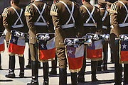 Chilean military band at attention