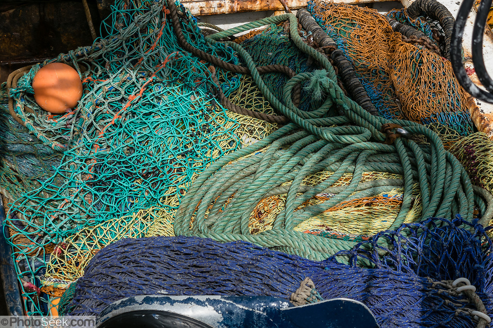 Fishing net and rope pattern. Oban is an important tourism hub and Caledonian MacBrayne (Calmac) ferry port, protected by the island of Kerrera and Isle of Mull, in the Firth of Lorn, Scotland, United Kingdom, Europe.