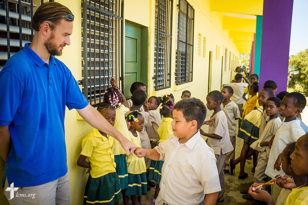The Rev. Duane Meissner, career missionary to Belize, greets students before lunch at St. Alphonsus school on Tuesday, Sept. 27, 2016, in Seine Bight, Belize. LCMS Communications/Erik M. Lunsford