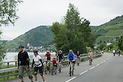 Fahrradfahrer bei Lorch, Veranstaltung Tal total, für Autos gesperrte Straßen im Rheintal, Rheingau, Hessen, Deutschland.|.cyclists, Tal total, roads closed for traffic, Rheingau, Hessen, Germany