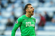 Martin Dubravka (#12) of Newcastle United celebrates Newcastle's victory during the Premier League match between Newcastle United and Everton at St. James's Park, Newcastle, England on 9 March 2019.