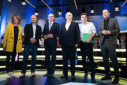 12.05.2019, Puls4 Studio, Wien, AUT, Puls4, Elefantenrunde zur Europawahl 2019, im Bild Die EU-Spitzenkandidaten Claudia Gamon (NEOS), Andreas Schieder (SPÖ), Othmar Karas (ÖVP), Johannes Voggenhuber (Liste Jetzt), Werner Kogler (Grüne) und Harald Vilimsky (FPÖ) // during political discussion due to elections of the european parliament 2019 in Vienna, Austria on 2019/05/12, EXPA Pictures © 2019, PhotoCredit: EXPA/ Michael Gruber