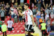 Brentford defender John Egan (14) pointing finger during the EFL Sky Bet Championship match between Brentford and Nottingham Forest at Griffin Park, London, England on 16 August 2016. Photo by Matthew Redman.