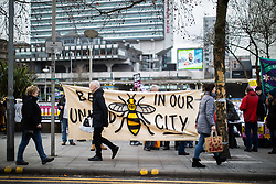 "© Licensed to London News Pictures . 09/02/2019. Manchester , UK . Anti-fascists in Piccadilly Gardens  ahead of  "" Yellow Vest "" protest in Manchester City Centre , lead by James Goddard . The yellow vest concept has been adopted from French demonstrators by some British groups in support of Brexit , Donald Trump and former EDL leader Stephen Yaxley-Lennon - aka Tommy Robinson . A similar demonstration in the city in January was ridiculed after protesters were kettled by police in front of a branch of Greggs the Baker . Photo credit : Joel Goodman/LNP"