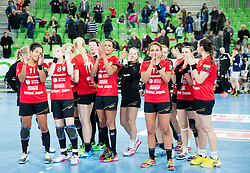 Playes of Krim after the handball match between RK Krim Mercator (SLO) and RK Buducnost (MNE) in Round #3 of Main Round of EHF Women's Champions League 2014/15, on February 13, 2015 in Arena Stozice, Ljubljana, Slovenia. Photo by Vid Ponikvar / Sportida