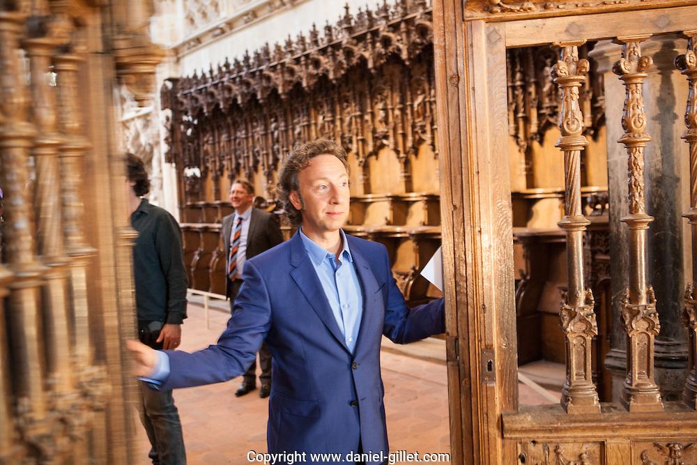 Tournage emission televisee le monument prefere des francais, Monastere Royal de Brou, Bourg-en-Bresse, Ain. avec le presentateur Stephan Bern