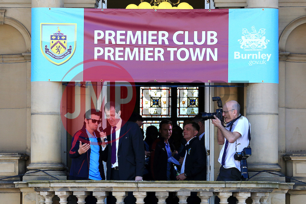 Burnley's Joey Barton speaks with Alastair Campbell - Mandatory by-line: Matt McNulty/JMP - 09/05/2016 - FOOTBALL - Burnley Town Hall - Burnley, England - Burnley FC Championship Trophy Presentation
