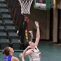 5th year forward Ainsley MacIntyre (10) of the Regina Cougars in action during the Women's Basketball Preseason game on October 14 at Centre for Kinesiology, Health and Sport. Credit: Arthur Ward/Arthur Images