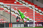 Bristol City Goalkeeper Sophie Baggaley (1) saves the ball during the FA Women's Super League match between Manchester United Women and Bristol City Women at Leigh Sports Village, Leigh, United Kingdom on 5 January 2020.