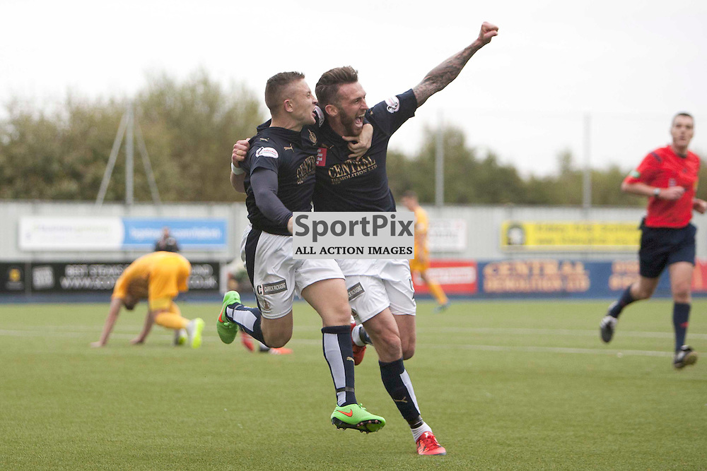 Lee Miller of Falkirk opens the scoring for Falkirk at the Ladbrokes Scottish Championship match between Falkirk FC and Greenock Morton FC at Falkirk Stadium on October 17, 2015 in Falkirk, Scotland. Photo by Jonathan Faulds/SportPix