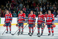KELOWNA, CANADA - MARCH 5: Mitch Holmberg #17, Jason Fram #2, Connor Chartier #27, Marcus Messier #13 and Reid Gow #18 of the Spokane Chiefs line up against the Kelowna Rockets on March 5, 2014 at Prospera Place in Kelowna, British Columbia, Canada.   (Photo by Marissa Baecker/Getty Images)  *** Local Caption *** Mitch Holmberg; Jason Fram; Connor Chartier; Marcus Messier; Reid Gow;