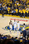 Golden State Warriors forward Andre Iguodala (9) celebrates with his teammates during a time out during Game 5 of the NBA Finals against the Cleveland Cavaliers at Oracle Arena in Oakland, Calif., on June 12, 2017. (Stan Olszewski/Special to S.F. Examiner)
