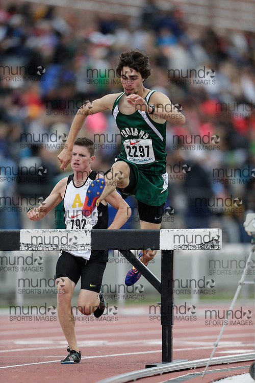 Graham Hansel of West Ferris SS - North Bay competes at the 2013 OFSAA Track and Field Championship in Oshawa Ontario, Friday,  June 7, 2013.<br /> Mundo Sport Images/ Geoff Robins