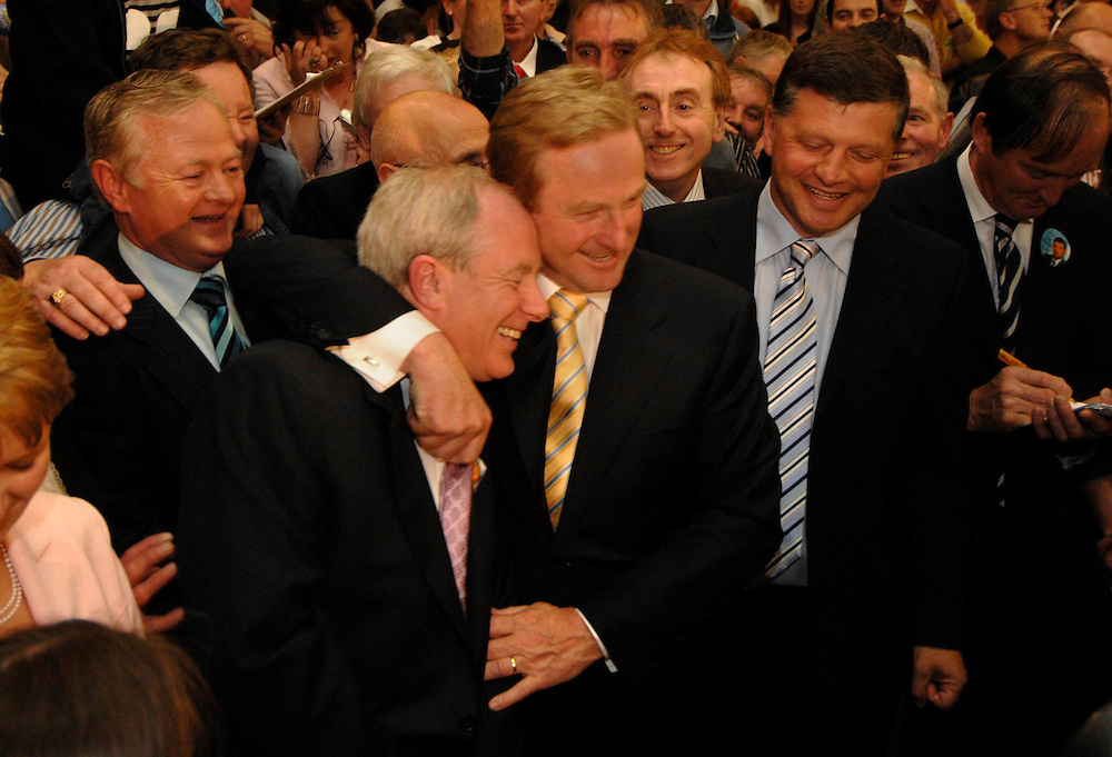 Michael Ring T.D., Enda Kenny T.D. and John O Mahony  at the TF Royal after Enda Kenny T.D. is Deemed elected, with Ring and O Mahony to follow . Pic: Michael Mc Laughlin