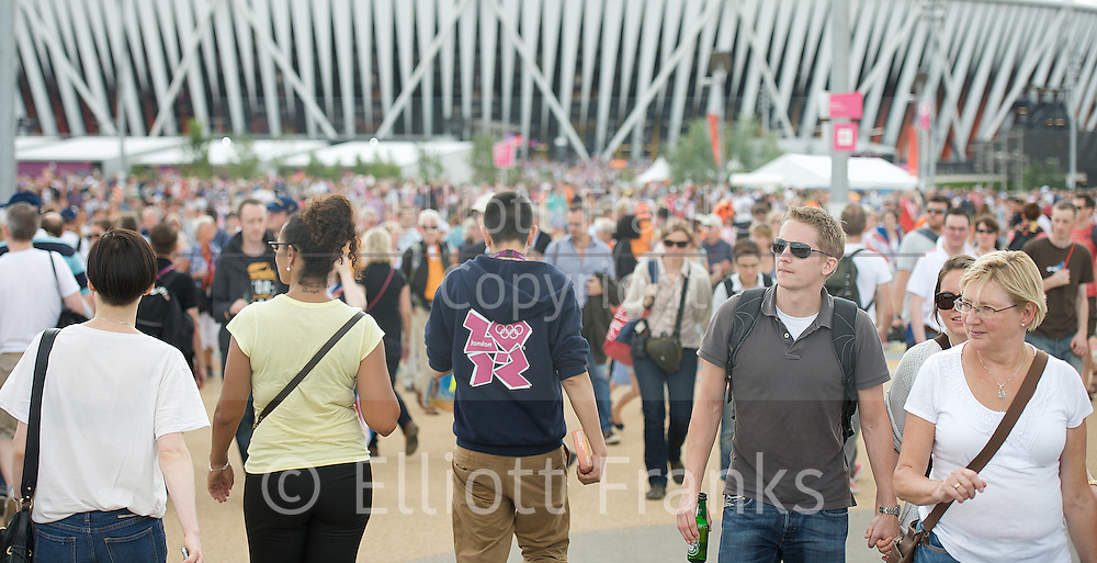 Olympics London 2012<br /> The Olympic Park <br /> Stratford, London, Great Britain <br /> 8th August 2012 <br /> <br /> General View images<br /> Atmosphere and colourful patriotic costumes<br /> <br /> <br /> Photograph by Elliott Franks