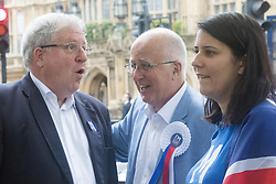 Westminster, London, June 23rd 2016. Spotted outside Parliament is disgraced former Labour MP Denis MacShane who resigned in 2012 following his conviction for false accounting, sharing a joke with Transport Secretary Patrick McLoughlin, left.