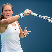 August 21, 2016, New Haven, Connecticut: <br /> Daria Kasatkina of Russia in action during Day 3 of the 2016 Connecticut Open at the Yale University Tennis Center on Sunday, August  21, 2016 in New Haven, Connecticut. <br /> (Photo by Billie Weiss/Connecticut Open)