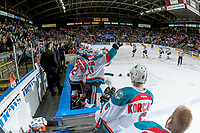 KELOWNA, CANADA - APRIL 14: Reid Gardiner #23 of the Kelowna Rockets skates to the bench to celebrate a goal against the Portland Winterhawks on April 14, 2017 at Prospera Place in Kelowna, British Columbia, Canada.  (Photo by Marissa Baecker/Shoot the Breeze)  *** Local Caption ***