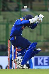 August 24, 2017 - Kandy, Sri Lanka - Sri Lankan cricket captain Upul Tharanga avoids a bouncer ball during the 2nd One Day International cricket match between Sri Lanka and India at the Pallekele international cricket stadium at Kandy, Sri Lanka on Thursday 24 August 2017. (Credit Image: © Tharaka Basnayaka/NurPhoto via ZUMA Press)