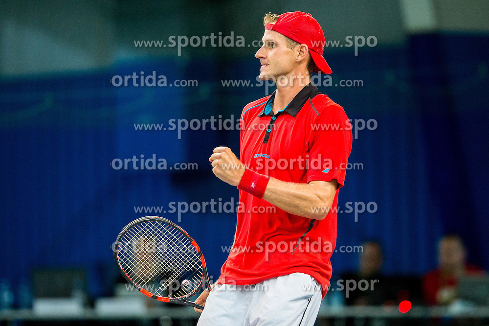Blaz Rola of Slovenia in action during Davis Cup Slovenia vs Lithuania competition, on October 30, 2015 in Kranj, Slovenia. Photo by Vid Ponikvar / Sportida