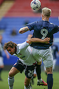 Lawrie Wilson (Bolton Wanderers) is beaten to the header by Simon Makienok (Preston North End) during the Pre-Season Friendly match between Bolton Wanderers and Preston North End at the Macron Stadium, Bolton, England on 30 July 2016. Photo by Mark P Doherty.