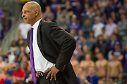 FORT WORTH, TX - FEBRUARY 6: TCU Horned Frogs head coach Trent Johnson looks on against the Kansas Jayhawks on February 6, 2016 at the Ed and Rae Schollmaier Arena in Fort Worth, Texas.  (Photo by Cooper Neill/Getty Images) *** Local Caption *** Trent Johnson