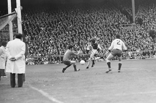 Dublin goalie attempts to save the ball as Galway player is tackled in the goalmouth during the All Ireland Senior Gaelic Football Championship Final Dublin V Galway at Croke Park on the 22nd September 1974. Dublin 0-14 Galway 1-06.