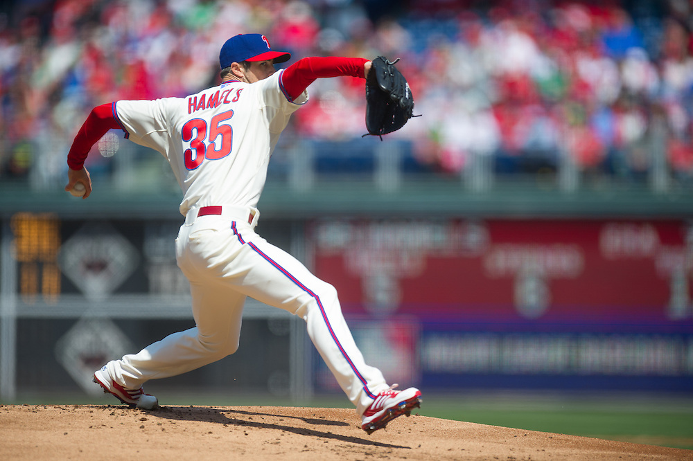 PHILADELPHIA, PA - APRIL 7: Cole Hamels #35 of the Philadelphia Phillies pitches during the game against the Kansas City Royals at Citizens Bank Park on April 7, 2013 in Philadelphia, Pennsylvania. (Photo by Rob Tringali) *** Local Caption *** Cole Hamels