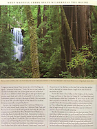 Half-page interior photograph in Bay Nature Magazine.  Photograph is of Berry Creek Falls shot through old growth redwood forest in Big Basin State Park in California.