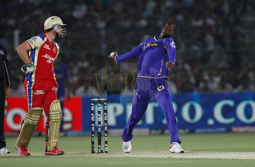 Rajasthan Royals player Kevon Cooper bowls during match 30 of the the Indian Premier League ( IPL) 2012  between The Rajasthan Royals and the Royal Challengers Bangalore held at the Sawai Mansingh Stadium in Jaipur on the 23rd April 2012..Photo by Pankaj Nangia/IPL/SPORTZPICS