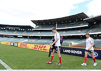 4 June 2013; Jonathan Sexton, left, and Leigh Halfpenny, British & Irish Lions, arrive for kickers practice ahead of their game against Western Force on Wednesday. British & Irish Lions Tour 2013, Kickers Practice, Patersons Stadium, Perth, Australia. Picture credit: Stephen McCarthy / SPORTSFILE
