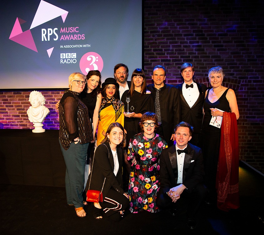 Spitalfield Music at the RPS Music Awards- Wednesday 9 May<br /> Winner of the RPS Music Award for Chamber Music and Song for Schumann Street<br /> Photo credit required:  Simon Jay Price<br /> www.rpsmusicawards.com  #RPSMusicAwards