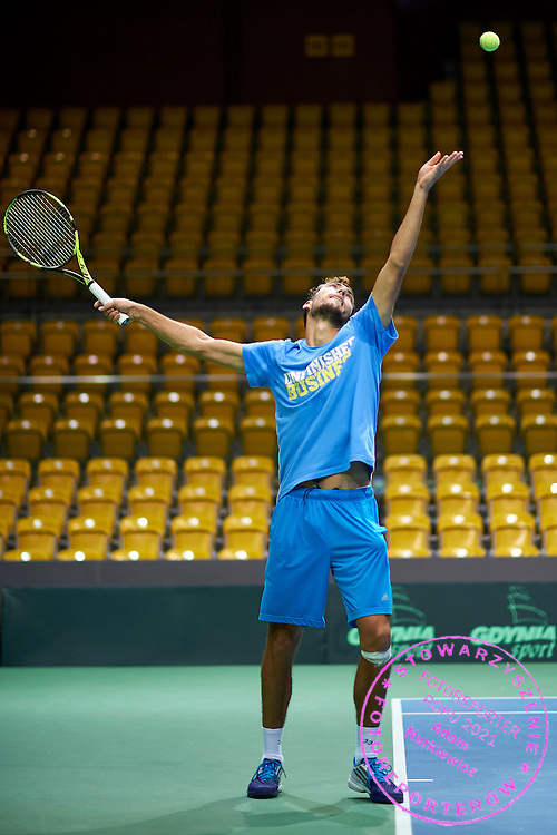 Jerzy Janowicz of Poland while his training session  three days before Davis Cup Tie World Group Play-off Poland v Slovakia at Gdynia Arena in Gdynia, Poland.<br /> <br /> Poland, Gdynia, September 15, 2015<br /> <br /> Picture also available in RAW (NEF) or TIFF format on special request.<br /> <br /> For editorial use only. Any commercial or promotional use requires permission.<br /> <br /> Adam Nurkiewicz declares that he has no rights to the image of people at the photographs of his authorship.<br /> <br /> Mandatory credit:<br /> Photo by &copy; Adam Nurkiewicz / Mediasport