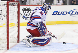 Mar 6; Newark, NJ, USA; New York Rangers goalie Henrik Lundqvist (30) makes a save during the second period of their game against the New Jersey Devils at the Prudential Center.