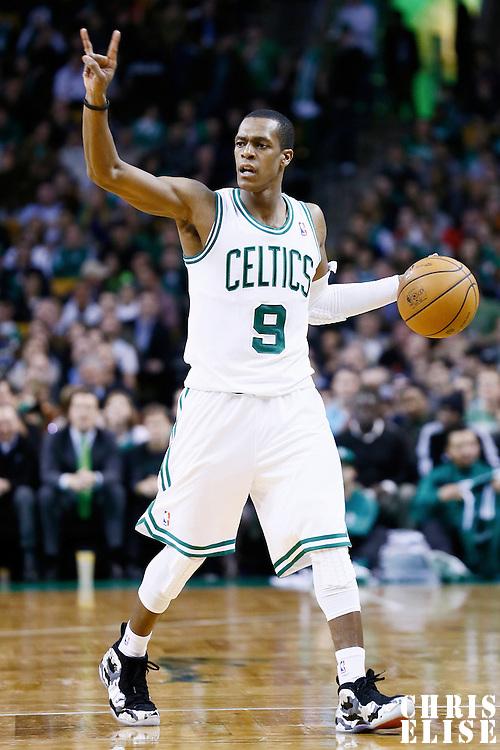 19 December 2012: Boston Celtics point guard Rajon Rondo (9) sets the offense during the Boston Celtics 103-91 victory over the Cleveland Cavaliers at the TD Garden, Boston, Massachusetts, USA.