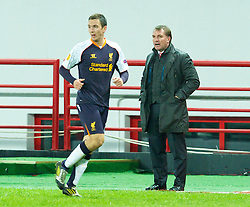 MOSCOW, RUSSIA - Thursday, November 8, 2012: Liverpool's manager Brendan Rodgers and Stewart Downing against FC Anji Makhachkala during the UEFA Europa League Group A match at the Lokomotiv Stadium. (Pic by David Rawcliffe/Propaganda)
