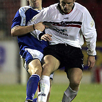 St Johnstone v Clyde..27.11.04<br />Sean Webb tackles Aaron Wilford<br /><br />Picture by Graeme Hart.<br />Copyright Perthshire Picture Agency<br />Tel: 01738 623350  Mobile: 07990 594431