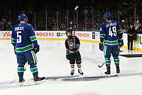 KELOWNA, BC - SEPTEMBER 29:  The seventh player of the game raises his stick to fans during the starting line-up announcement against the Arizona Coyotes at Prospera Place on September 29, 2018 in Kelowna, Canada. (Photo by Marissa Baecker/NHLI via Getty Images)  *** Local Caption ***