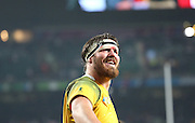 Australia's Lock Kane Douglas celebrating the win over England to knock them out of the world cup during the Rugby World Cup Pool A match between England and Australia at Twickenham, Richmond, United Kingdom on 3 October 2015. Photo by Matthew Redman.