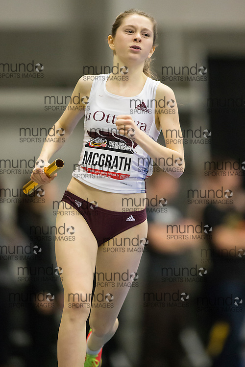 Windsor, Ontario ---2015-03-13--- Clare McGrath of  University of Ottawa competes in the 4X800m relay at the 2015 CIS Track and Field Championships in Windsor, Ontario, March 15, 2015.<br /> GEOFF ROBINS/ Mundo Sport Images