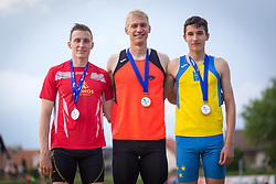 LINDIČ Mitja, HRIBARŠEK Peter and GUČEK Matic Ian at medal ceremony during day 2 of Slovenian Athletics Cup 2019, on June 16, 2019 in Celje, Slovenia. Photo by Peter Kastelic / Sportida
