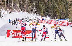 01.02.2020, Seefeld, AUT, FIS Weltcup Nordische Kombination, Langlauf, Gundersen 10 Km, im Bild v.l. Espen Bjoernstad (NOR), Vinzenz Geiger (GER), Joergen Graabak (NOR), Eric Frenzel (GER), Akito Watabe (JPN) // f.l. Espen Bjoernstad of Norway Vinzenz Geiger of Germany Joergen Graabak of Norway Eric Frenzel of Germany and Akito Watabe of Japan during the Gundersen 10 Km Cross Country Competition of FIS Nordic Combined World Cup at the Seefeld, Austria on 2020/02/01. EXPA Pictures © 2020, PhotoCredit: EXPA/ Stefan Adelsberger