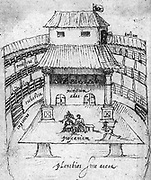 Performance in progress at the Swan theatre in London in 1596.