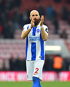 Bruno Saltor (2) of Brighton and Hove Albion applauds the travelling fans as he celebrates the 3-1 win over Bournemouth at full time during the The FA Cup 3rd round match between Bournemouth and Brighton and Hove Albion at the Vitality Stadium, Bournemouth, England on 5 January 2019.