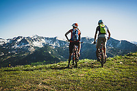 Syd Schulz and Macky Franklin take in the central Wasatch Range from the Wasatch Crest Trail, Utah.